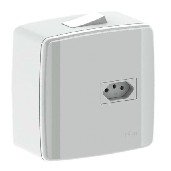 Caixa Interruptor Embutir + Tomada