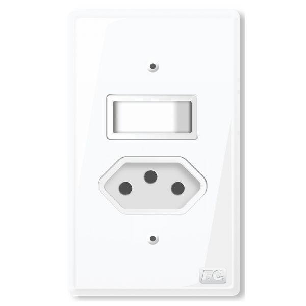 Conjunto 1 Interruptor Simples + Tomada
