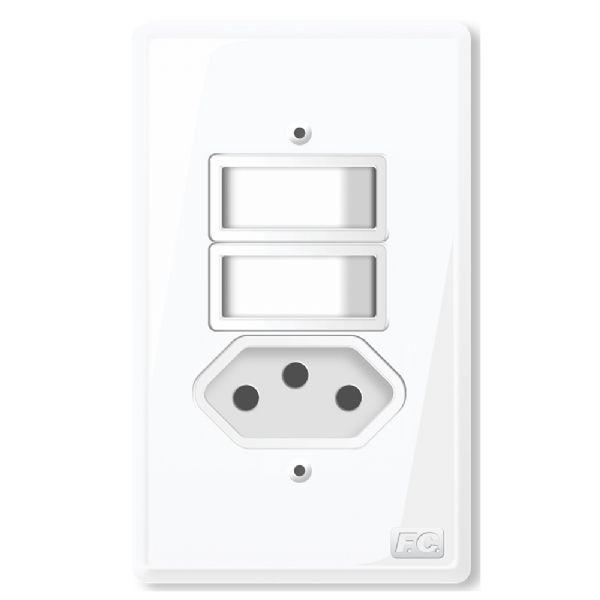 Conjunto 2 Interruptores Simples + Tomada